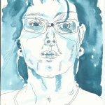 Ich frontal - 30 x 20 cm - Tusche auf Bütten (c) Zeichnung von Susanne Haun