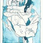 Rosenblüten Version 1 - 22 x 17 cm auf Hahnemühle Burgund Papier (c) Zeichnung von Susanne Haun