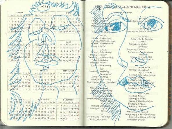 Selbstportrait Tagebuch Übersicht 2014 (c) Zeichnung von Susanne Haun