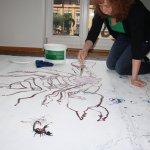 Bei Tagesbeginn verschwinden einige Linien des Skorpiopns (c) Zeichnung auf Leinwand von Susanne Haun