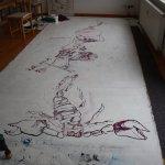 Tagesbeginn - der untere Teil der Leinwand ist an der Reihe (c) Zeichnung auf Leinwand von Susanne Haun