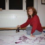 Am Tagesende arbeite ich an der Welt des Atlas (c) Zeichnung auf Leinwand von Susanne Haun