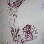 Auch ein Teil des Schweines fällt dem Weiss zum Opfer (c) Zeichnung auf Leinwand von Susanne Haun