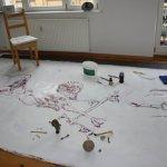 Auf eine so grosse Leinwand passt eine Menge Motiv (c) Zeichnung auf Leinwand von Susanne Haun