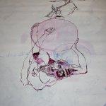 Zwischenstand (c) Zeichnung auf Leinwand von Susanne Haun