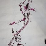 Neues Vergängliches entsteht auf der Leinwand für Grimma (c) Zeichnung von Susanne Haun