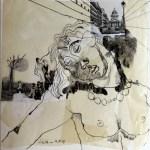 Blatt 34 - Entzückt verträumt - 25 x 25 cm - Collage von Susanne Haun