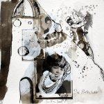 Blatt 4 - Der Turm - 25 x 25 cm - Zeichnerische Fotocollage von Susanne Haun
