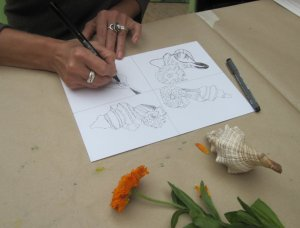 Workshop Mit Tusche zeichnen und kolorieren - Dozentin Susanne Haun
