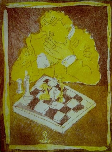 Wechselnde Konfigurationen beim Schach (c) Radierung von Susanne Haun