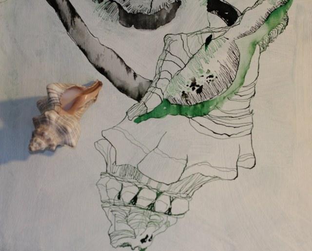 Detail Leinwand Natur  (c) Zeichnung auf Leinwand von Susanne Haun