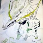 Entstehung des Tods (c) Zeichnung auf Leinwand von Susanne Haun