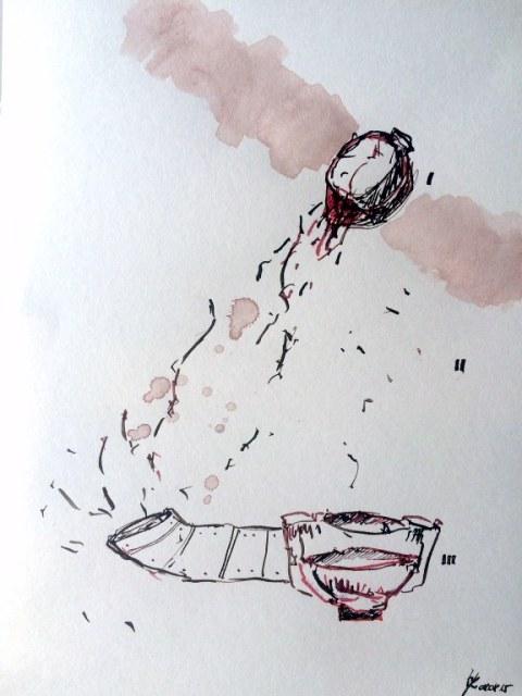 Weggegossen No. 8 a (c) Zeichnung von Jürgen Küster