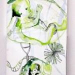Die Geburt (c) Zeichnung auf Leinwand von Susanne Haun