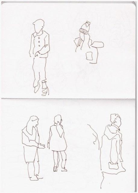 Beobachtungen auf dem Flughafen (c) Zeichnung von Susanne Haun