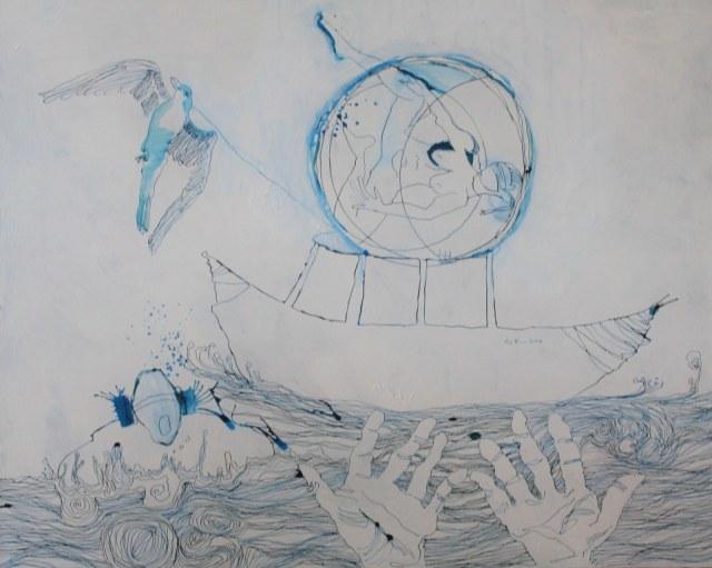 Dantes Barke des Vergessens 80 x 100 cm (c) Zeichnung auf Leinwand von Susanne Haun