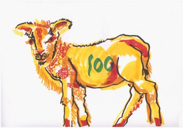 Lamm (c) Zeichnung mit stylefile Marker von Susanne Haun