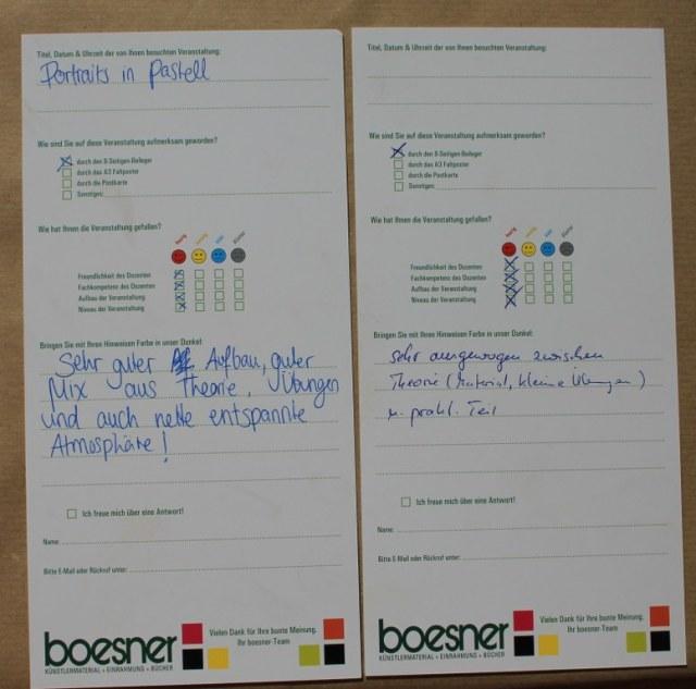 Meinungen zum Workshop Portrait in Pastell (c) Foto von Susanne Haun