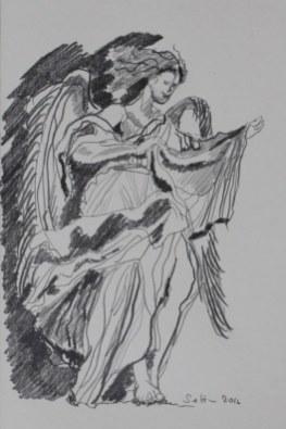 Engelsburg - 30 x 20 cm - Bleistift auf Bütten (c) Zeichnung von Susanne Haun
