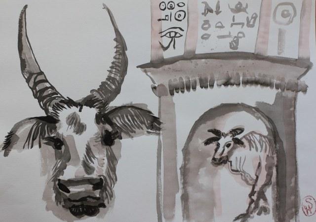 1 Ku - Ra - Tor - Tusche auf Bütten, 70 x 50 cm - Version 1 (c) Zeichnung von Susanne Haun
