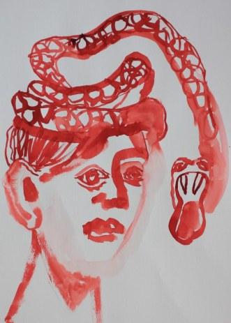 3 Entstehung der Weissen Schlange - Tusche auf Bütten - 70 x 50 cm (c) Zeichnung von Susanne Haun