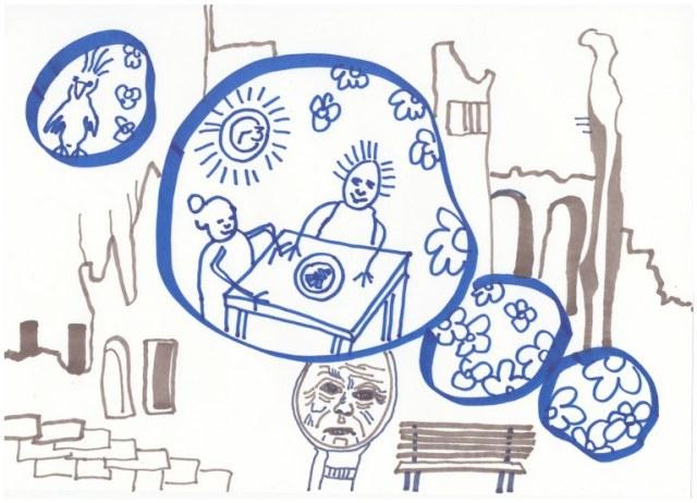 2 Die Kuechenuhr - er kam nach Hause ins Paradies (c) Zeichnung von Susanne Haun