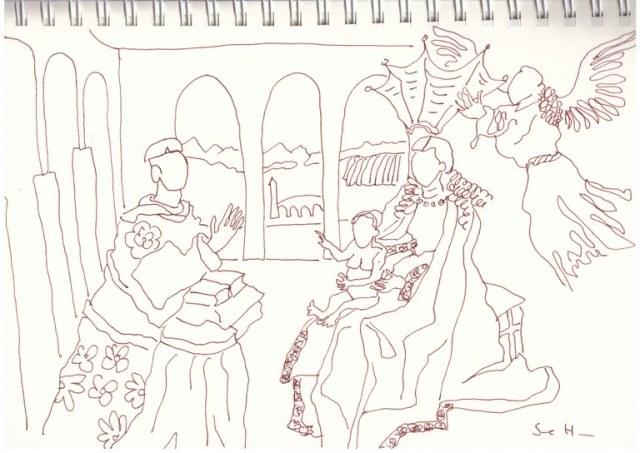 Interpretation der Rolin Madonna Version 1 (c) Zeichnung von Susanne Haun