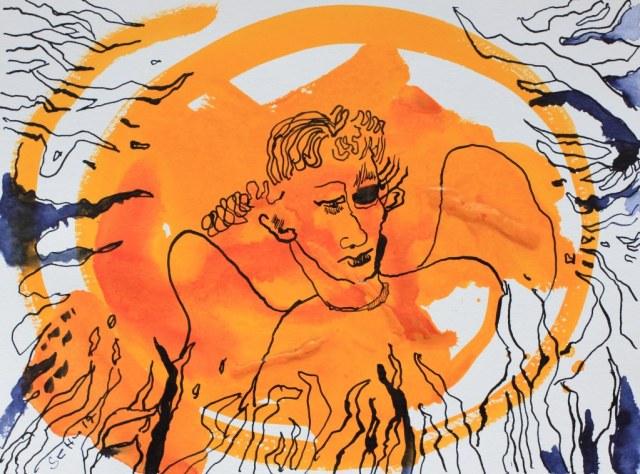 2 Der Himmelsbote und die Feuergräben - 32 x 24 cm - Tusche auf Aquarellkarton (c) Zeichnung von Susanne Haun