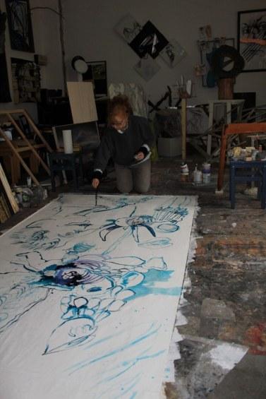 2 Arbeiten an - verso - Leinwand - 256 x 150 cm (c) Zeichnung von Susanne Haun