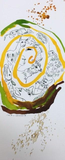 Dante - Jede Kreatur beugt sich der Ordnung - 50 x 20 cm - Tusche und Aquarell auf Bütten (c) Zeichnung von Susanne Haun