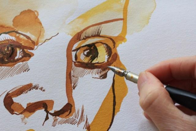 Detail Auge - Meine Vorstellung von Elfriede Lohse-Wächtler - 70 x 50 cm - Tusche auf Aquarellpapier - 2017 (c) Zeichnung von Susanne Haun