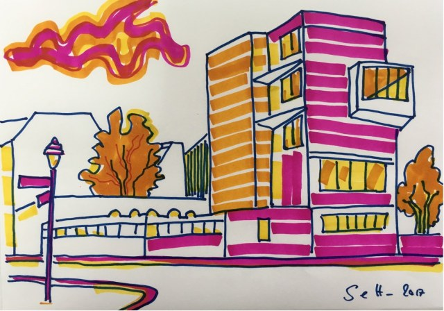 Exrotaprint - 30 x 20 cm - Marker auf Layoutpapier (c) Zeichnung von Susanne Haun