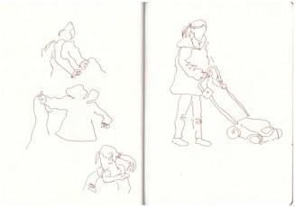Rasen mähen (c) Zeichnung von Susanne Haun
