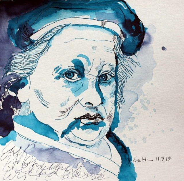 Rembrandt trifft mit stechenden Blick auf Cris - 25 x 25 cm - Tusche auf Aquarellkarton (c) Zeichnung von Susanne Haun