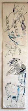 Wie aus Uinigumasuittuq Sedna, die Herrscherin der Meere wurde - Recto - 145 x 33 cm - Tusche und Acryl auf Leinwand (c) Susanne Haun