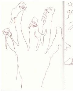 Eiswelten - Die Finger Sednas wurden zu Robben, Walen und Walrössern (c) Zeichnung von Susanne Haun