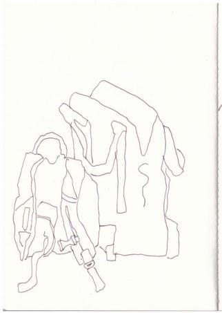 Rucksack und Reisetasche in Buir (c) Zeichnung von Susanne Haun
