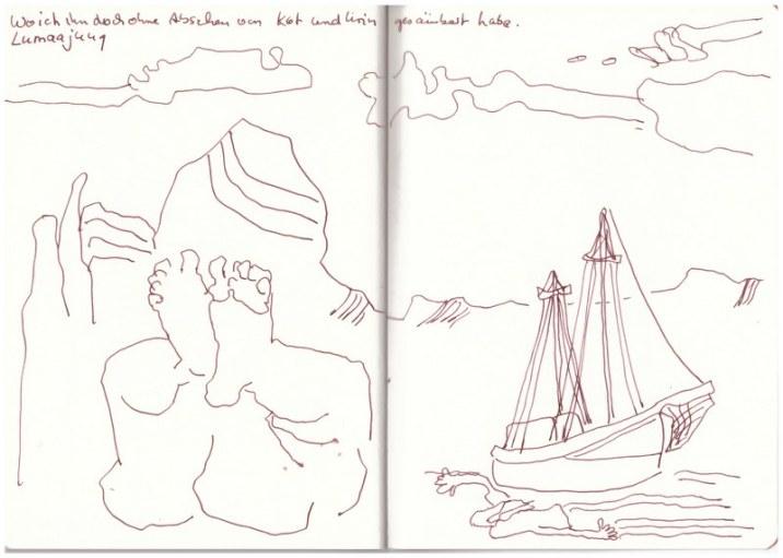 Wo ich ihn doch ohne Abscheu von Kot und Urin gesäubert habe (c) Zeichnung von Susanne Haun