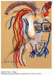 Postkarte Ziege von Susanne Haun übermalt von (c) Susanne Haun