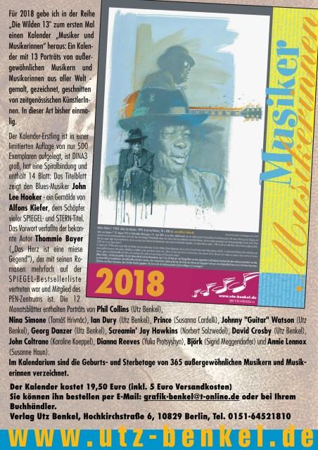 Musiker Musikerinnen Die Wilden 13 Kalender 2018 ISBN 3981800613 - beteiligt Susanne Haun (c) Utz Benkel