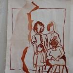 Anlagen Vier Generationen - Tusche auf Acryl grundierte Leinwand (c) Zeichnung von Susanne Haun