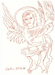 Engel mit Flügel - Tusche auf Burgund Aquarellkarton Hahnemuehle - 13 x 18 cm (c) Zeichnung von Susanne Haun