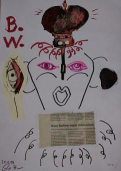 Rückseite des Portrais von Jürgen - Cut und Assemblage von Susanne Haun