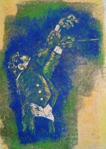 Meine Vorstellung vom Dirigent - 2 - 20 x 15 cm (c) Linoldruck von Susanne Haun