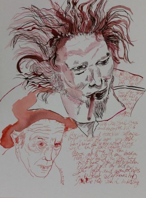 Mein Sinnbild von Tom Waits - 30 x 40 cm - Tusche auf Aquarellkarton - 2018 (c) Zeichnung von Susanne Haun