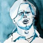 Mein Sinnbild von Herbert Grönemeyer - 32 x 24 cm - Tusche auf Aquarellkarton - blauer Hintergrund - 2018 (c) Zeichnung von Susanne Haun