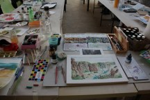 Workshop reale und surreale Welten Boesner Berlin - die Berge von Ingrid Nr. 3 (c) Foto von Susanne Haun