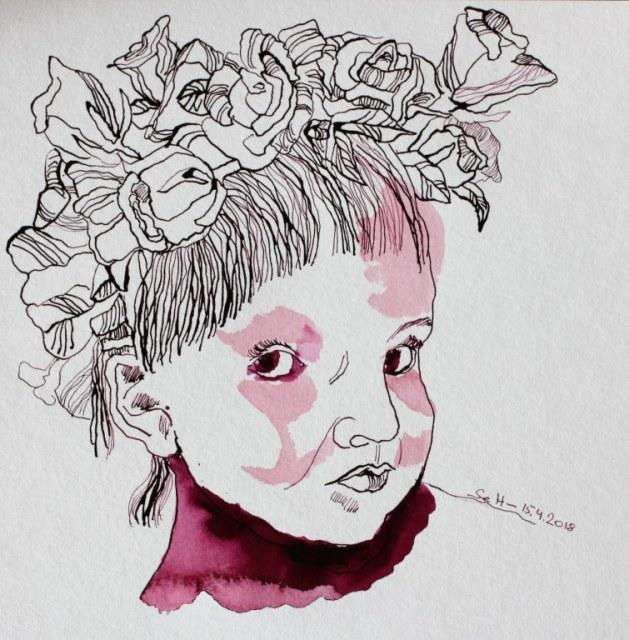 Mädchem mit Blumen im Haar - 25 x 25 cm - Tusche auf Hahnemuehle Burgund - Version 2 (c) Zeichnung von Susanne Haun