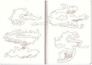 Die Wolken von Windhoek nach Ghanzi (c) Zeichnung von Susanne Haun