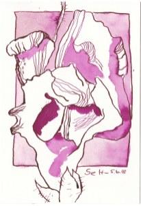 Löwenmäulchen des Lebens - 13 x 18 cm - Tusche auf Hahnemuehle Aquarellkarton Burgund (c) Zeichnung von Susanne Haun